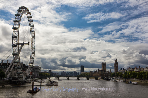 Overlooking the River Thames towards London Eye & Big Ben