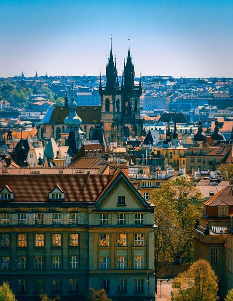 Old Town Prague from Vojanovy Sady park