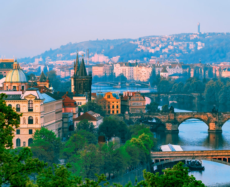 Charles Bridge and tower  from Letna Park