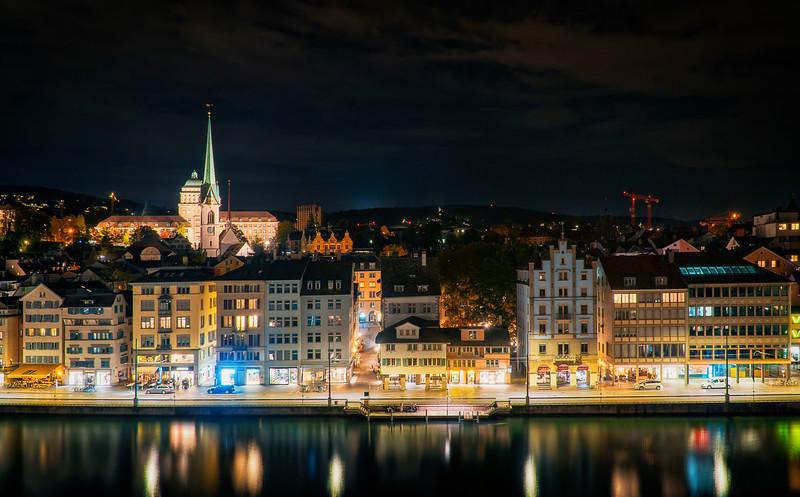 views over Limmat, downtown Zurich