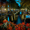 Amsterdam canals by night, toned