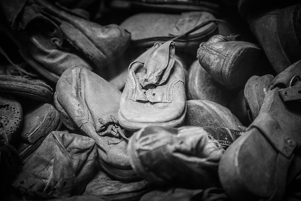 Shoes confiscated from Jewish prisoners