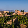 View of the Alhambra during the 'golden hour' from San Nicola viewpoint, right before sunset. Popular spot, particularly for hipsters with guitars.