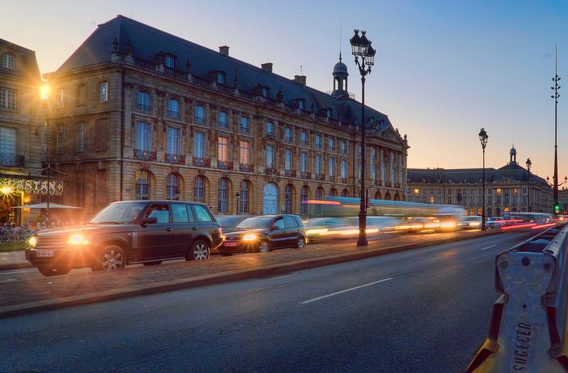 dusk traffic in Bordeaux
