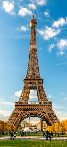 12 image 209.7 megapixel hi-res panorama of the Eiffel Tower on a sunny autumn afternoon in Paris, France