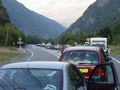 """Black Sunday.  The majority of France goes on holiday the same day and travels to the mountains.  We did too.  This was easily the *worst* traffic we have ever experienced.  We completely stopped the car half-a-dozen times waiting for over heated cars to get pushed off to the side.  Eventually we arrived at Solneige where Mirjam greeted us with """"Brian and Amy Zimmer from Chicago, would you like to join us for dinner?""""  Did we ever!"""