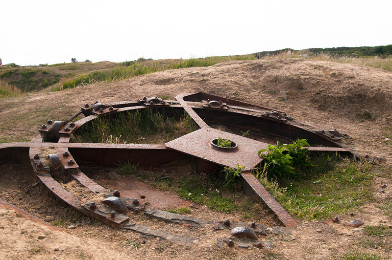 A German turret mount on the cliffs overlooking Omaha Beach.