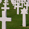 Grave markers at the American Cemetery near Omaha Beach.