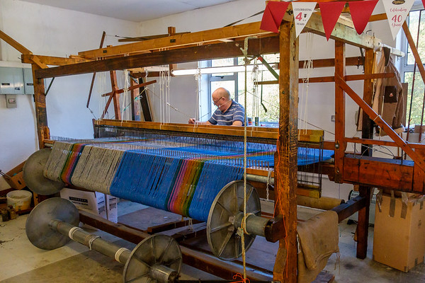 Weaver at work at Studio Donegal in the the picturesque village of Kilcar, near the stunning cliff of Slieve League on the Wild Atlantic Way