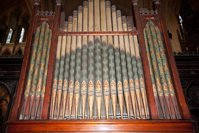 "Old organ in Christchurch Cathedral.  The cat and rat James Joyce mentions in ""Finnegan's Wake"" were trapped in the pipes of this organ."