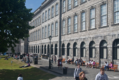 Interior courtyard and entrance to Book of Kells.  Trinity College, Dublin