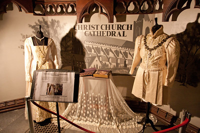 "Actual costumes from the BBC series ""The Tudors"" on display at Christchurch."