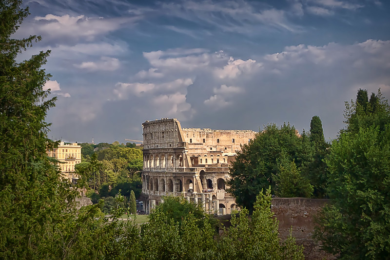 Colosseum viewed from upper hills of the Roman Forum