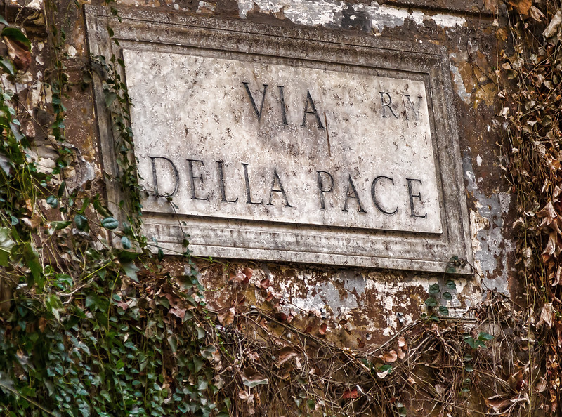 """Along """"Via della Pace,"""" a quaint and somewhat famous sidestreet of Rome"""