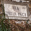 "Along ""Via della Pace,"" a quaint and somewhat famous sidestreet of Rome"