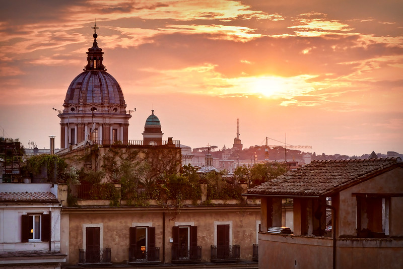 Rome skyline from the Spanish Steps