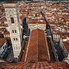 "Looking down on the Cathedral of Santa Maria del Fiore from atop Brunelleschi's Dome. Clear view of the bell tower, ""Campanile di Giotto."""