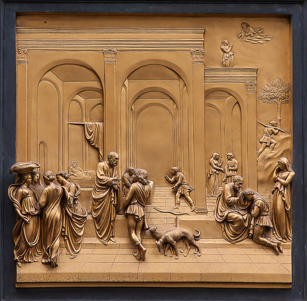 Close-up of the front door artwork of the Baptistery of St. John