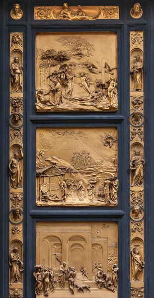 Close-up of the front door artwork of the Baptistery of St. John, added by Lorenzo Ghiberti in 1452.