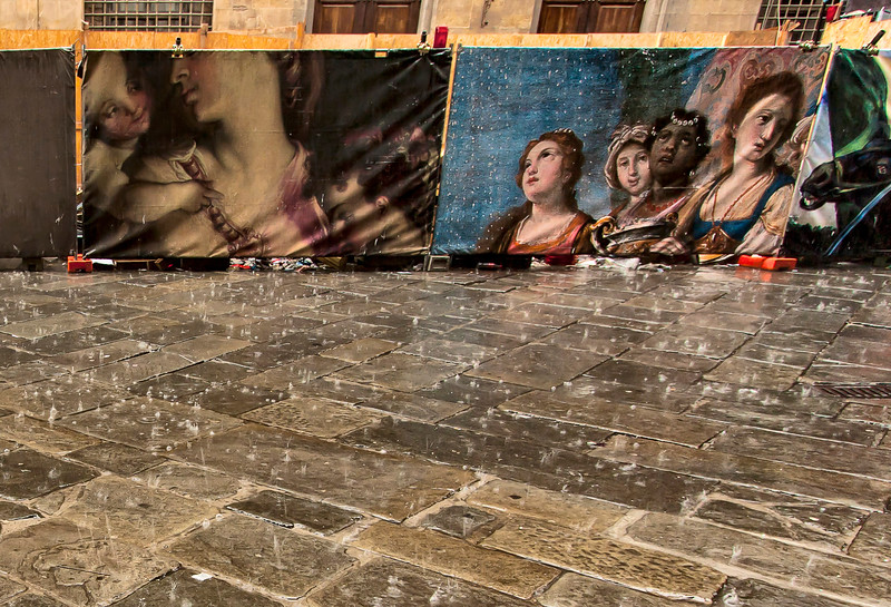 Art and Rain. Common mixture in Florence.