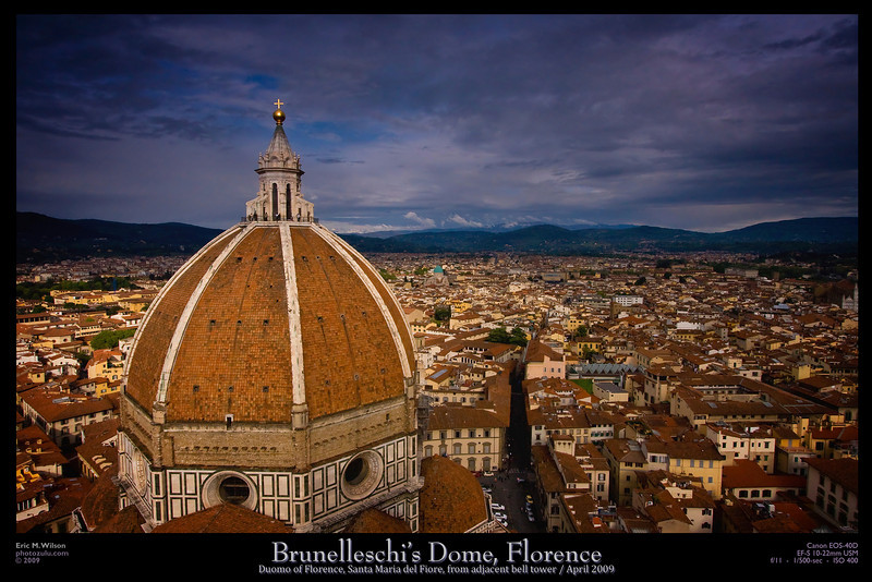 Brunelleschi's famous dome in Florence. Taken from the adjacent bell tower. (Lots of stairs.)