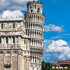 The famous Leaning Tower of Pisa, from the tourist approach