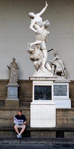 Violence, rape, solitude.  Early morning at Loggia della Signoria, Firenze