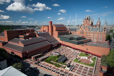 British Library in the foreground; St. Pancras hotel and Eurostar terminal right behind.  View from our hotel room, London.