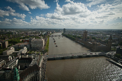 View down the Thames from the London Eye.