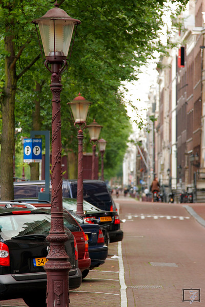 Typical street lining the canals in Amsterdam.