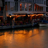 Canal-side restaurant just after sunset.