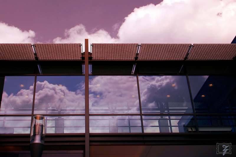 """Walkway between my company's buildings in Acht.<br><br><span class=""""subcaption"""">Used Cokin blue-yellow polarizer.</span>"""