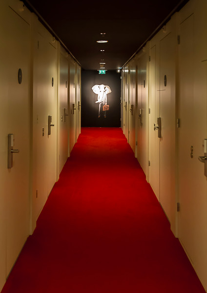 Hallway at the boxy but comfortable Citizen-M hotel.