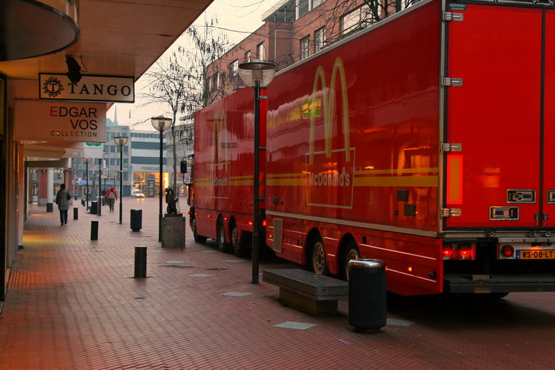 """The largest truck I saw in Eindhoven and it was for McDonald's delivery. Speaking for all Americans, """"I'm so sorry Netherlands. So dearly sorry."""""""
