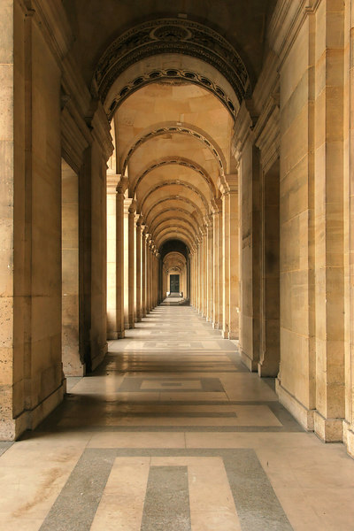 """A favorite picture from this trip. Arch covered pallistrade bordering the Louvre entrance.<br><br><span class=""""subcaption"""">Used DxO to brighten a bit, but this is almost untouched from the original.</span>"""
