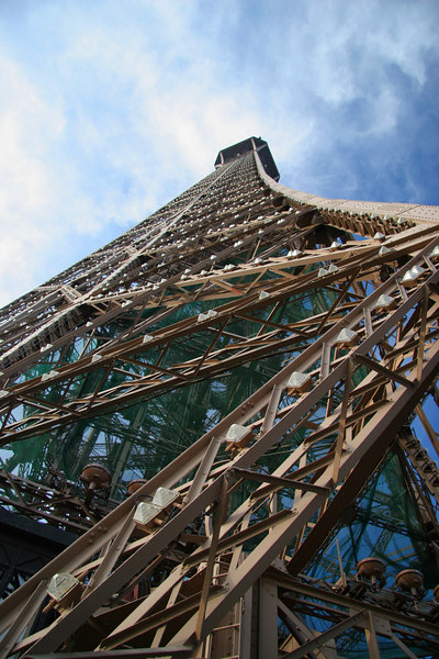 Unconventional vantage of the Eiffel Tower.
