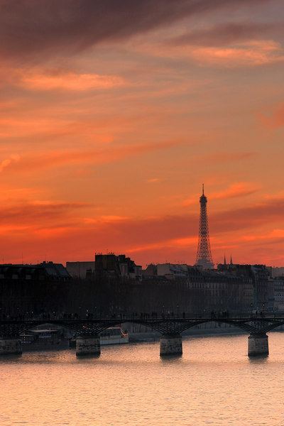 Eiffel and Seine at sunset.