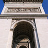 View from beneath the southern leg of Le Arc de Triomphe.