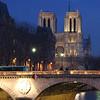 Notre-Dame just after sundown.