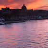 Sunset over the Seine looking toward the Orsay museum.