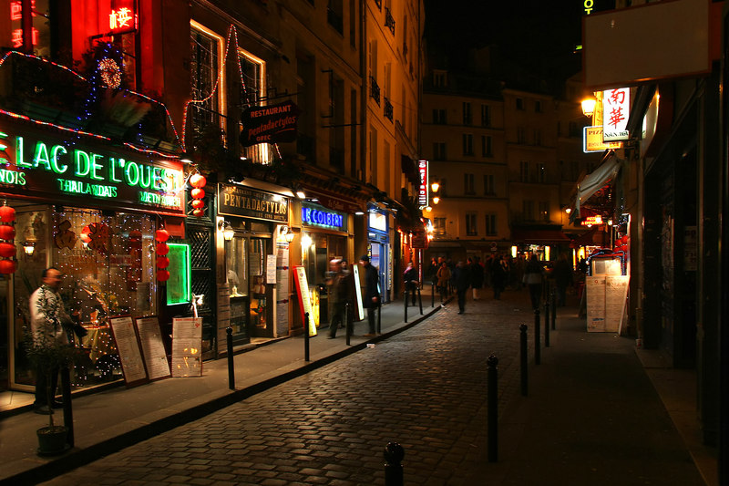 "Paris' ""Latin Quarter"" is the hotspot for nighttime bussle."