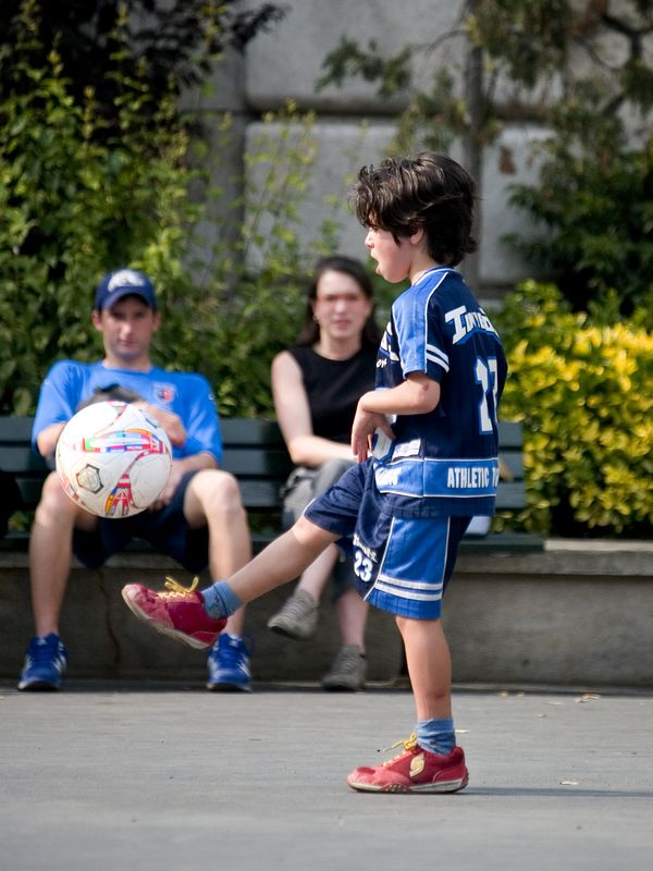 European football (soccer) on the steps of the Basilique du Sacre'-Coeur, Montmartre, (20 June 05).