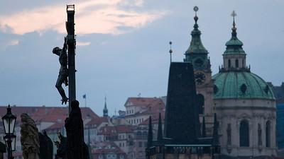 Jesus on the cross, Charles Bridge, Praha