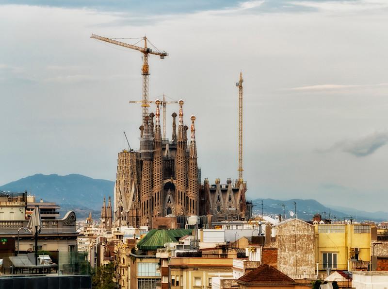 Sagrada Familia from Casa Mila