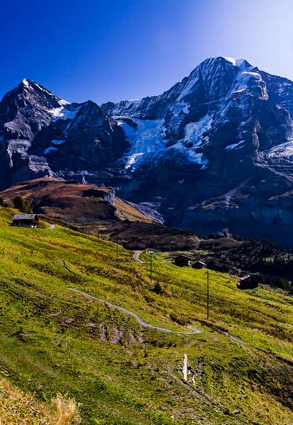 looking up toward Jungfrau