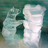 "cute sculptures and exhibits in ""Ice Palace"" at Jungfrau"