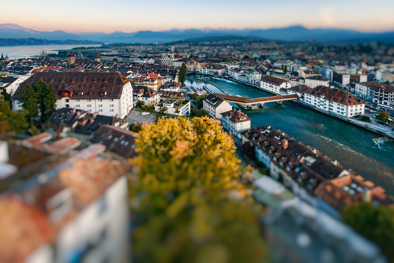 Lucerne and Reuss river from old city wall tower