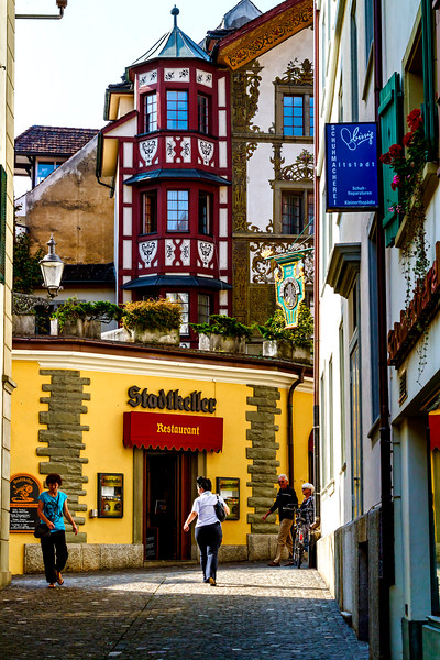 side streets and shops of Lucerne