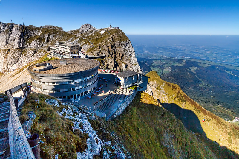 "view from Mt. Pilatus peak, overlooking ""Pilatus Kulm"""