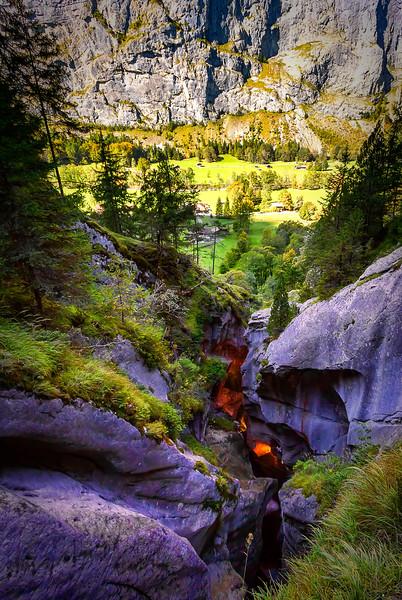 The end of Trümmelbach overlooking Lauterbrunnen Valley